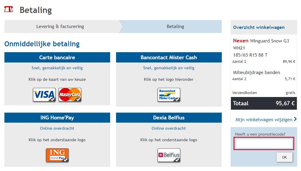 Banden-Pneus-Online kortingscode gebruiken