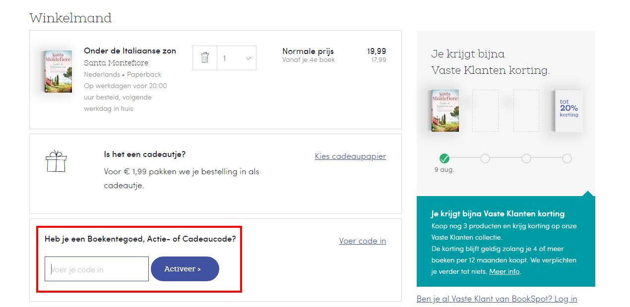 Bookspot kortingscode gebruiken