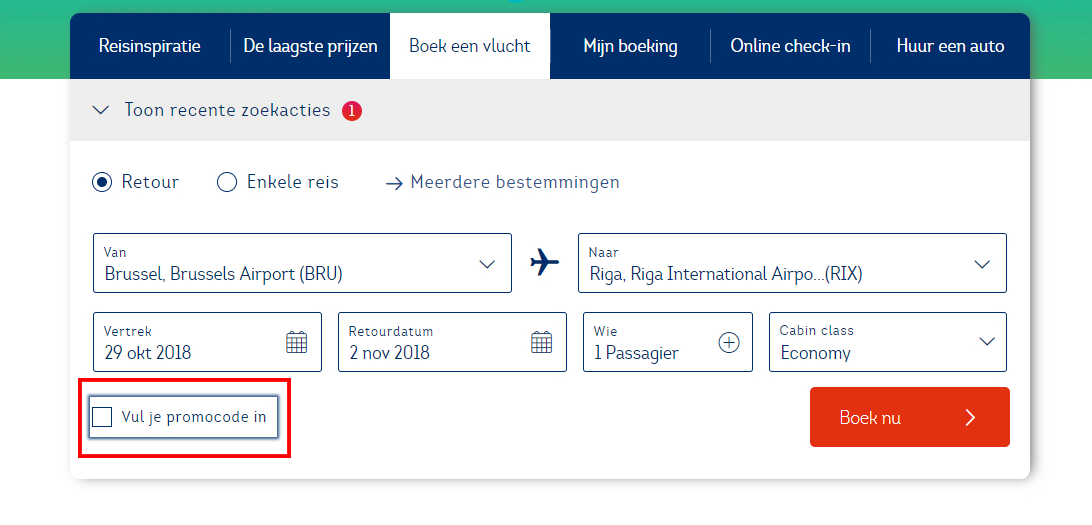 Brussels Airlines kortingscode gebruiken