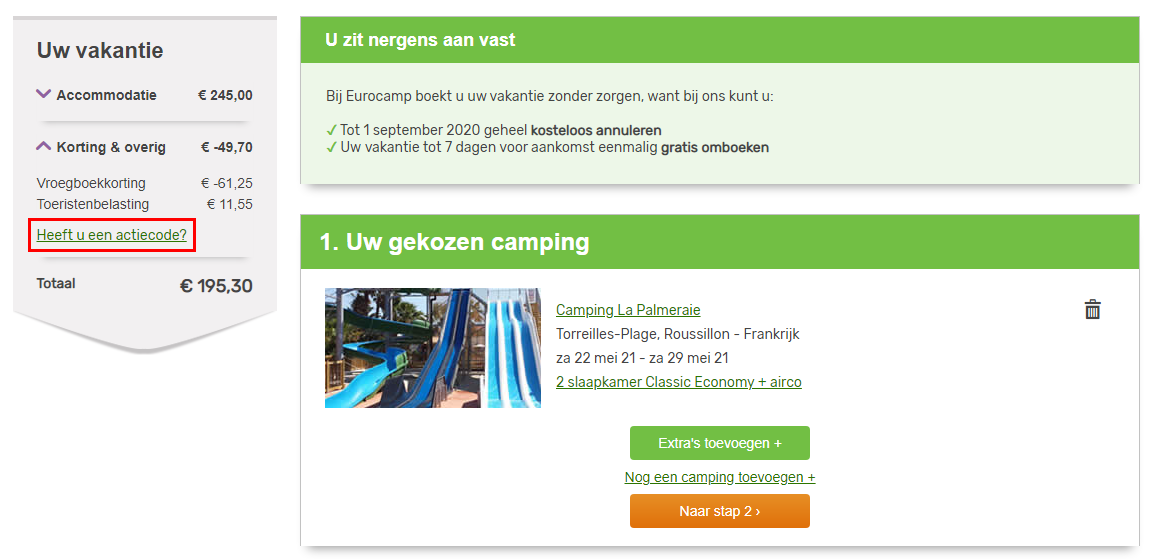 Eurocamp kortingscode gebruiken