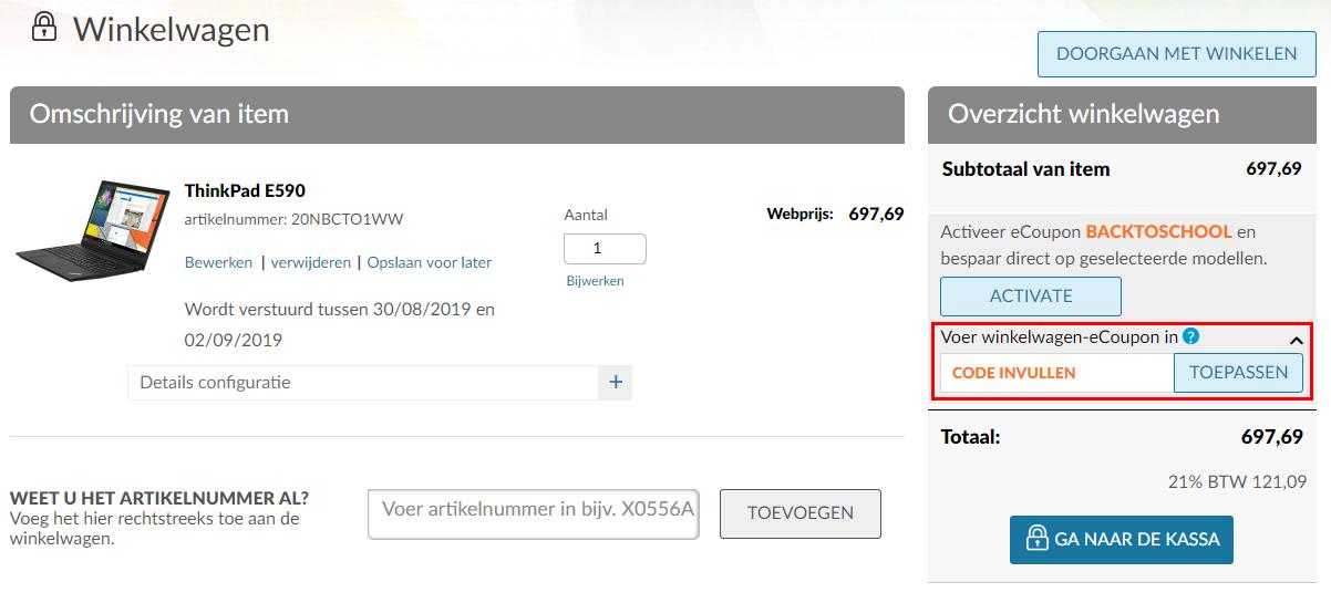 Lenovo kortingscode gebruiken