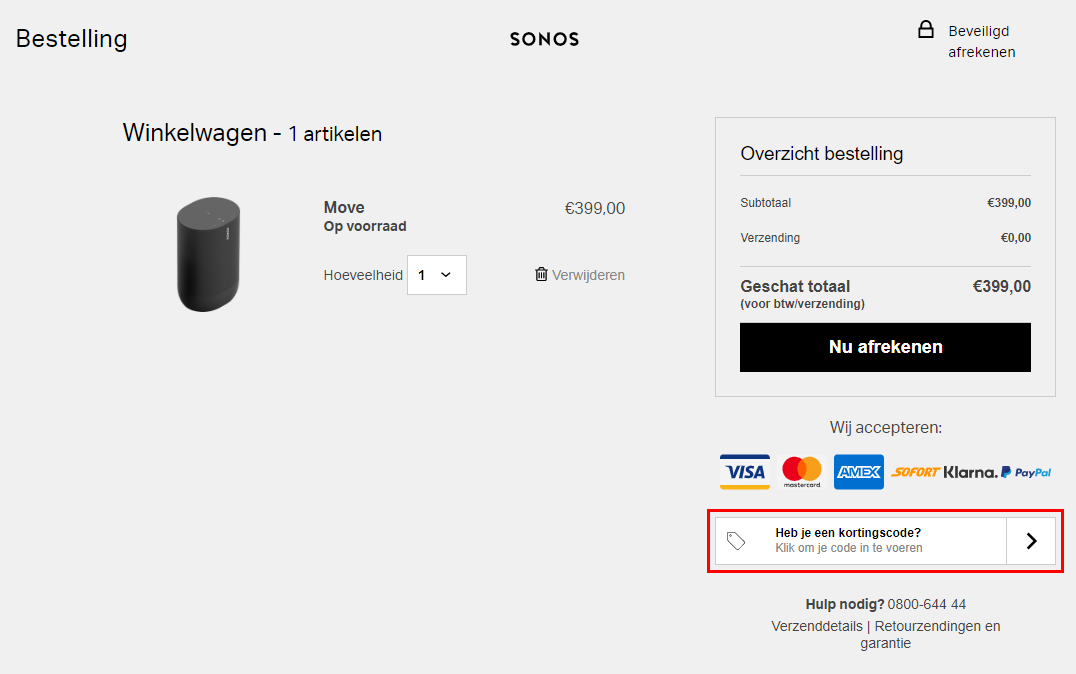 Sonos kortingscode gebruiken