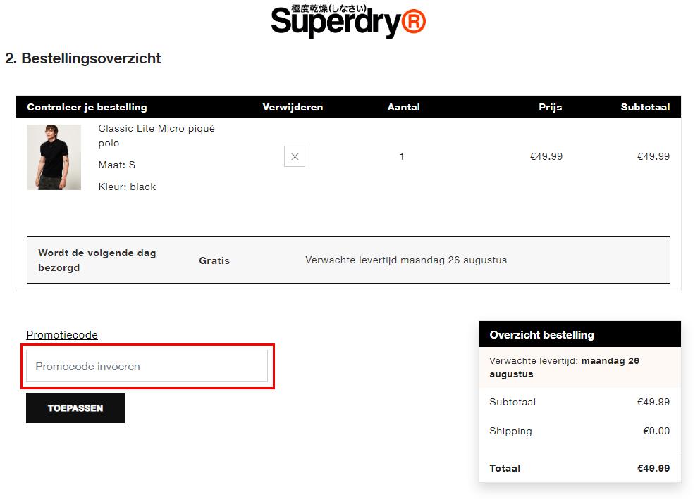 Superdry kortingscode gebruiken